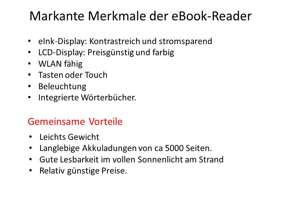 Markante Merkmale der eBook-Reader