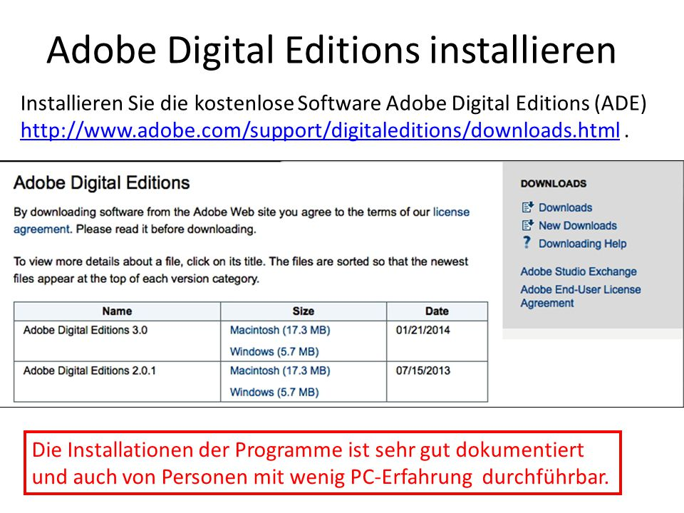 Adobe Digital Editions installieren