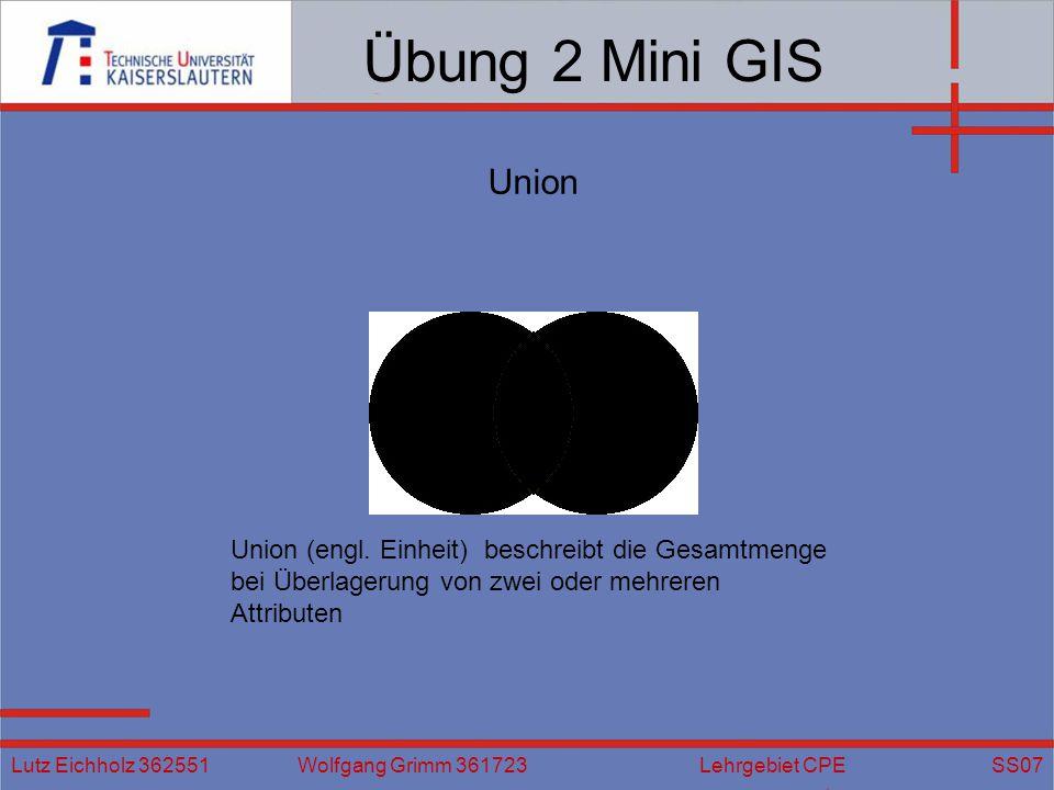 Übung 2 Mini GIS Union. Union (engl. Einheit) beschreibt die Gesamtmenge bei Überlagerung von zwei oder mehreren Attributen.