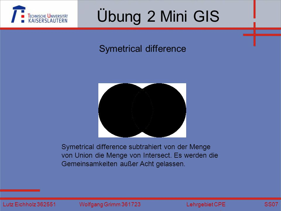Übung 2 Mini GIS Symetrical difference