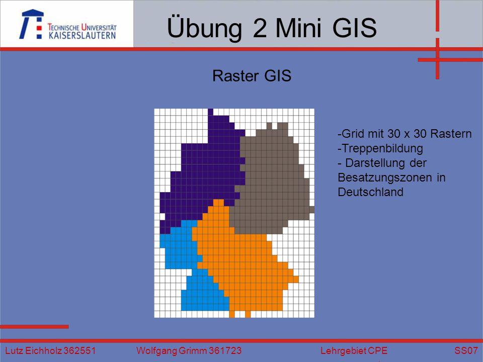 Übung 2 Mini GIS Raster GIS Grid mit 30 x 30 Rastern Treppenbildung