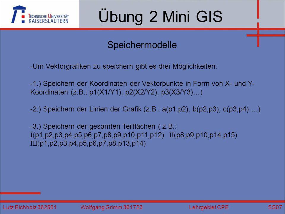 Übung 2 Mini GIS Speichermodelle