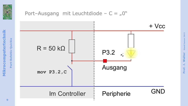 "Port–Ausgang mit Leuchtdiode – C = ""0"