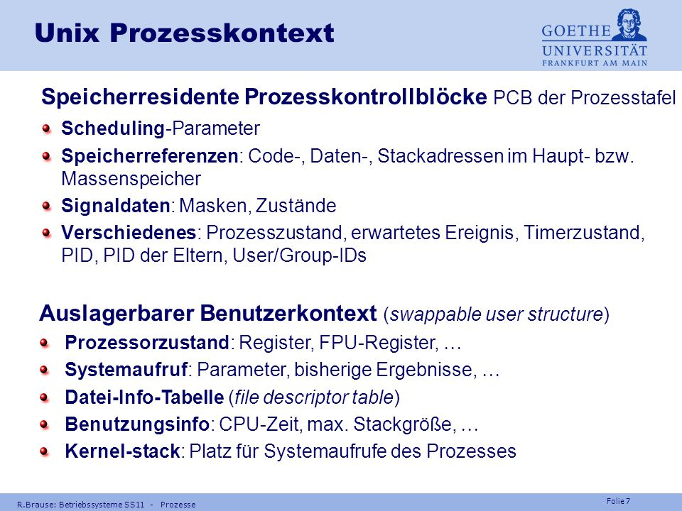 Unix Prozesskontext Speicherresidente Prozesskontrollblöcke PCB der Prozesstafel. Scheduling-Parameter.