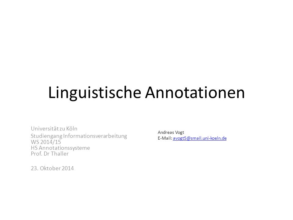 Linguistische Annotationen