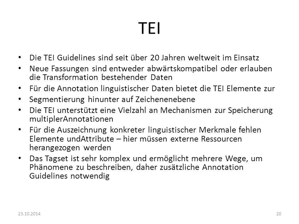 TEI Die TEI Guidelines sind seit über 20 Jahren weltweit im Einsatz