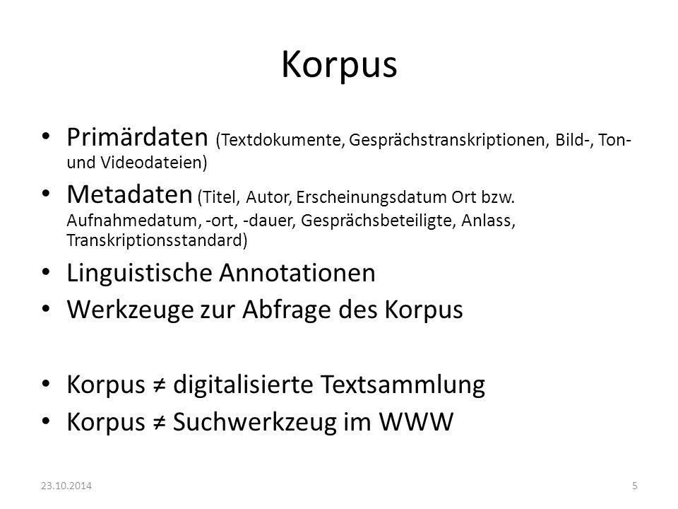 Korpus Primärdaten (Textdokumente, Gesprächstranskriptionen, Bild-, Ton- und Videodateien)
