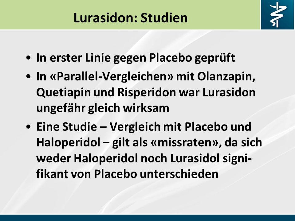 Lurasidon: Studien In erster Linie gegen Placebo geprüft