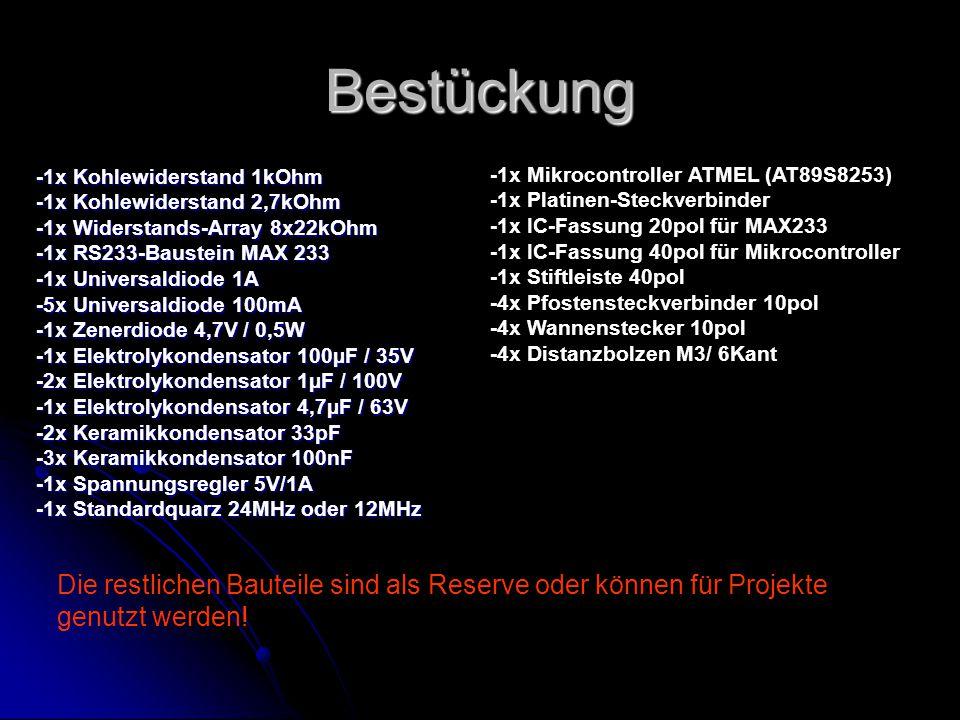 Bestückung -1x Mikrocontroller ATMEL (AT89S8253) -1x Platinen-Steckverbinder. -1x IC-Fassung 20pol für MAX233.