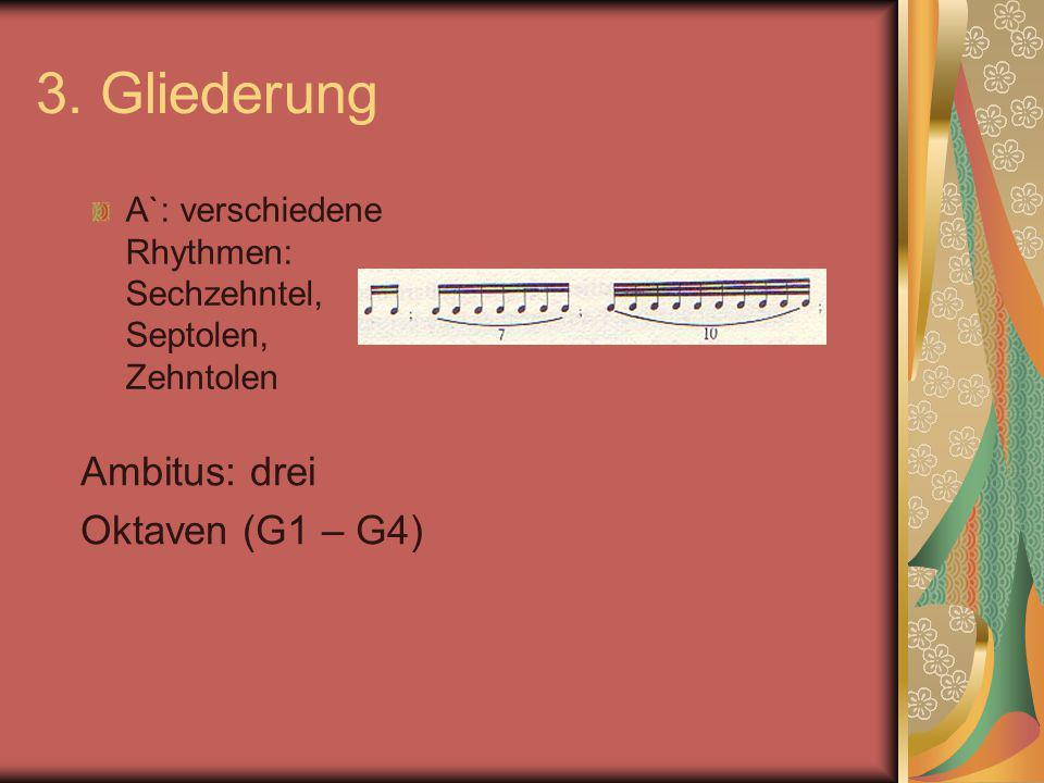 3. Gliederung Ambitus: drei Oktaven (G1 – G4)