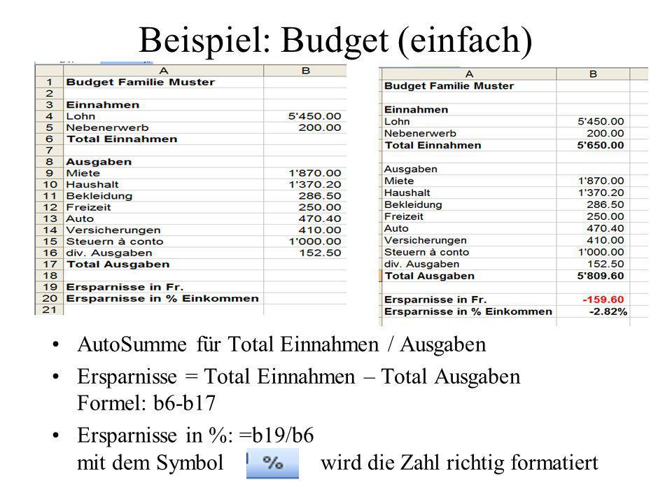 Beispiel: Budget (einfach)