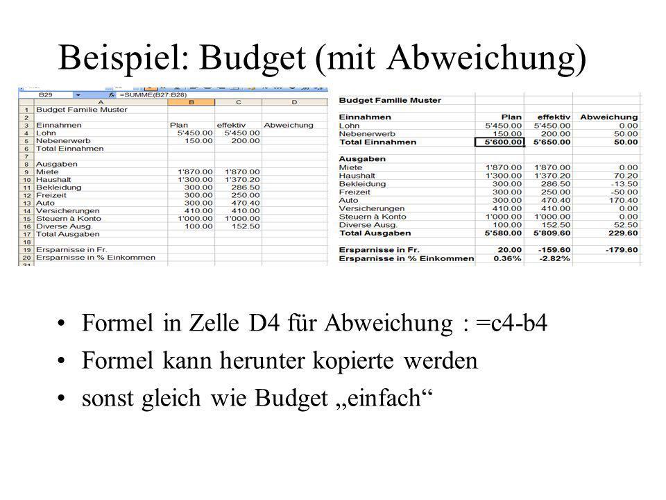 Beispiel: Budget (mit Abweichung)