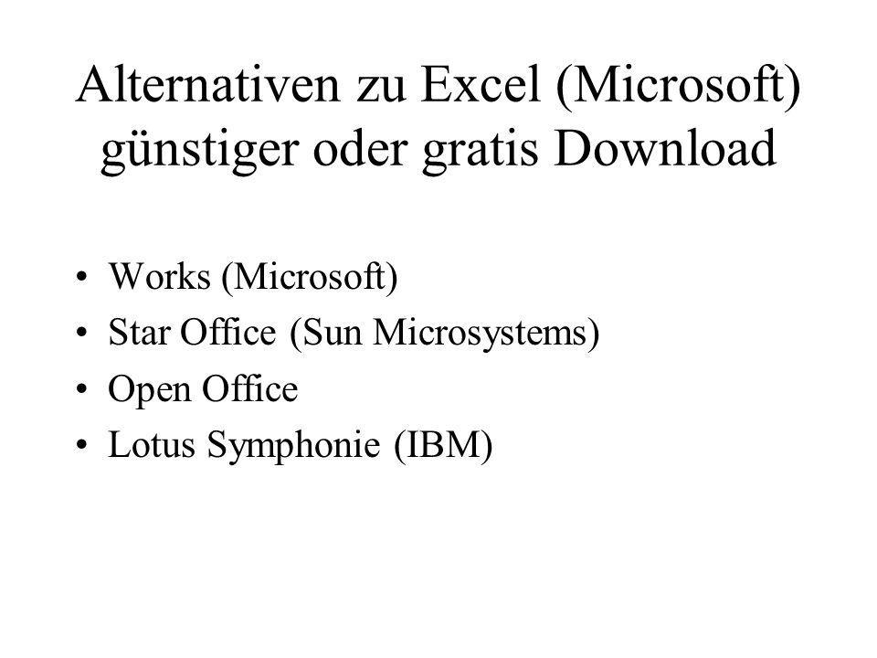 Alternativen zu Excel (Microsoft) günstiger oder gratis Download