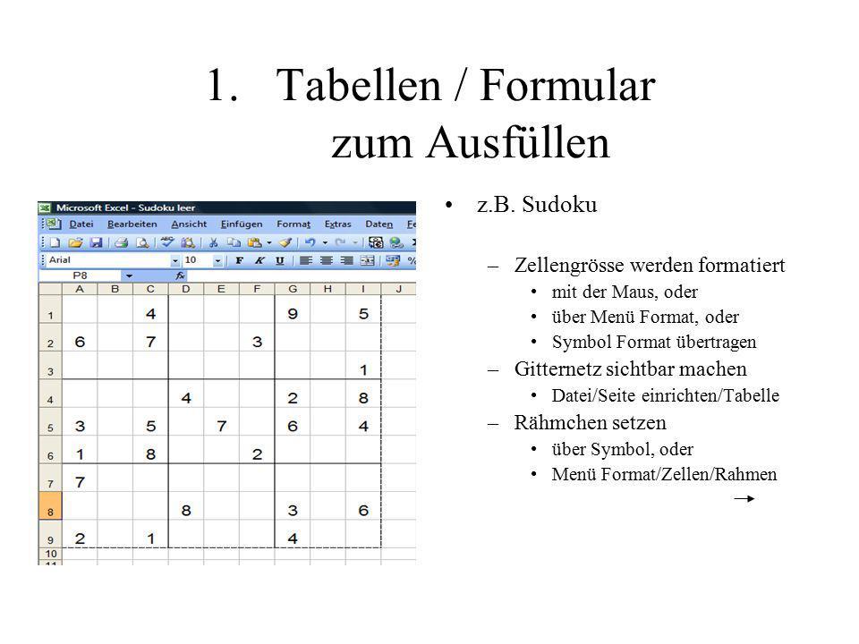 Tabellen / Formular zum Ausfüllen