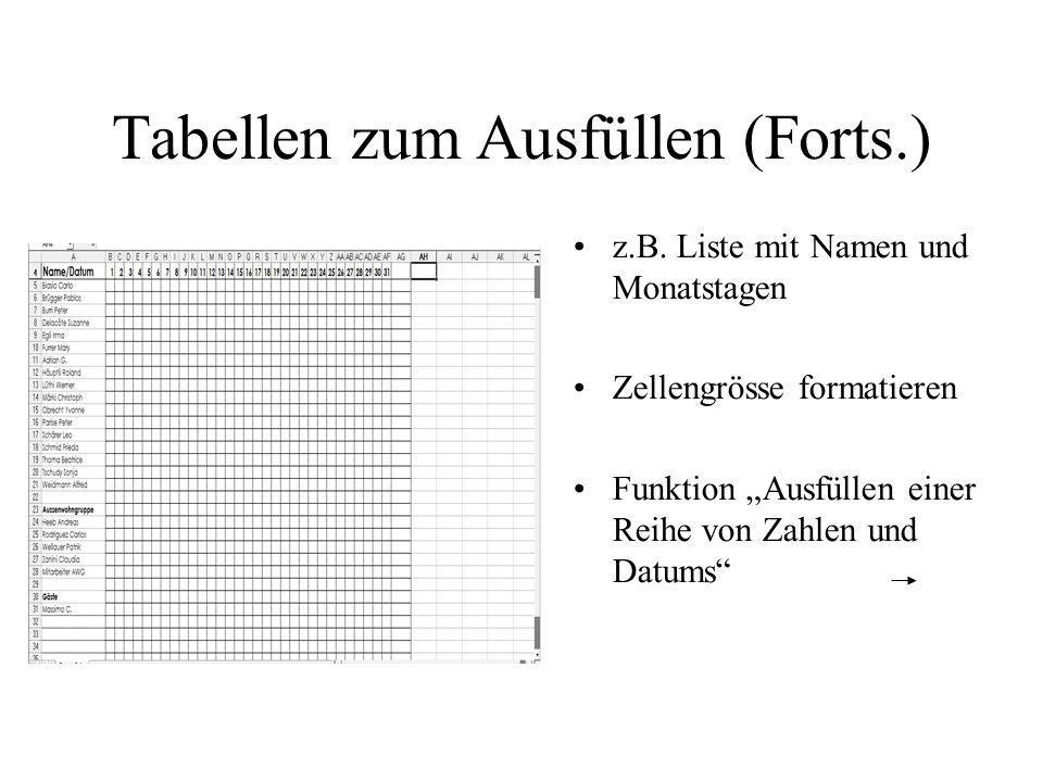 Tabellen zum Ausfüllen (Forts.)