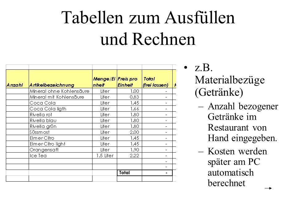 Tabellen zum Ausfüllen und Rechnen