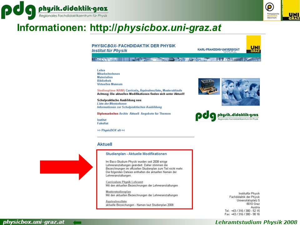 Informationen: http://physicbox.uni-graz.at
