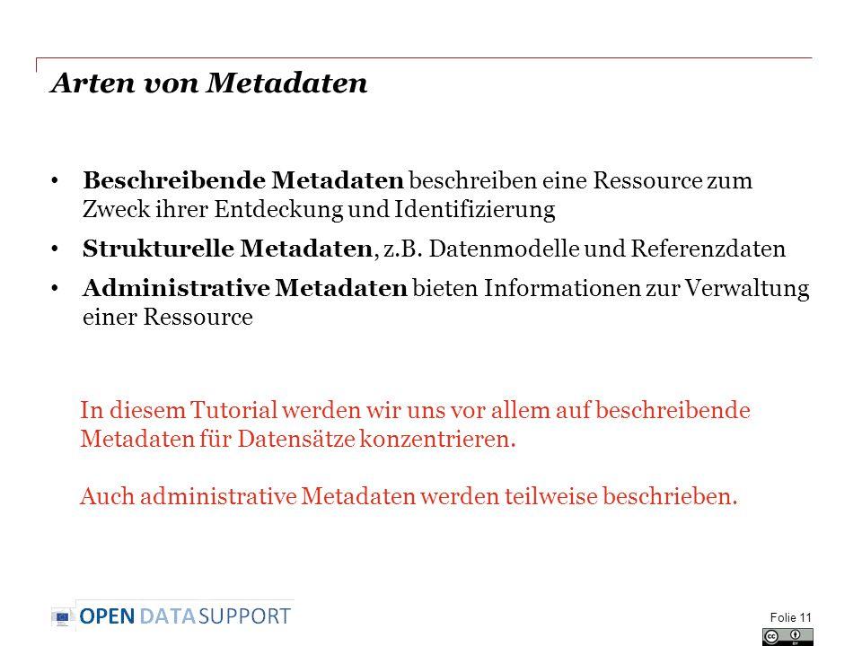 Arten von Metadaten Beschreibende Metadaten beschreiben eine Ressource zum Zweck ihrer Entdeckung und Identifizierung.