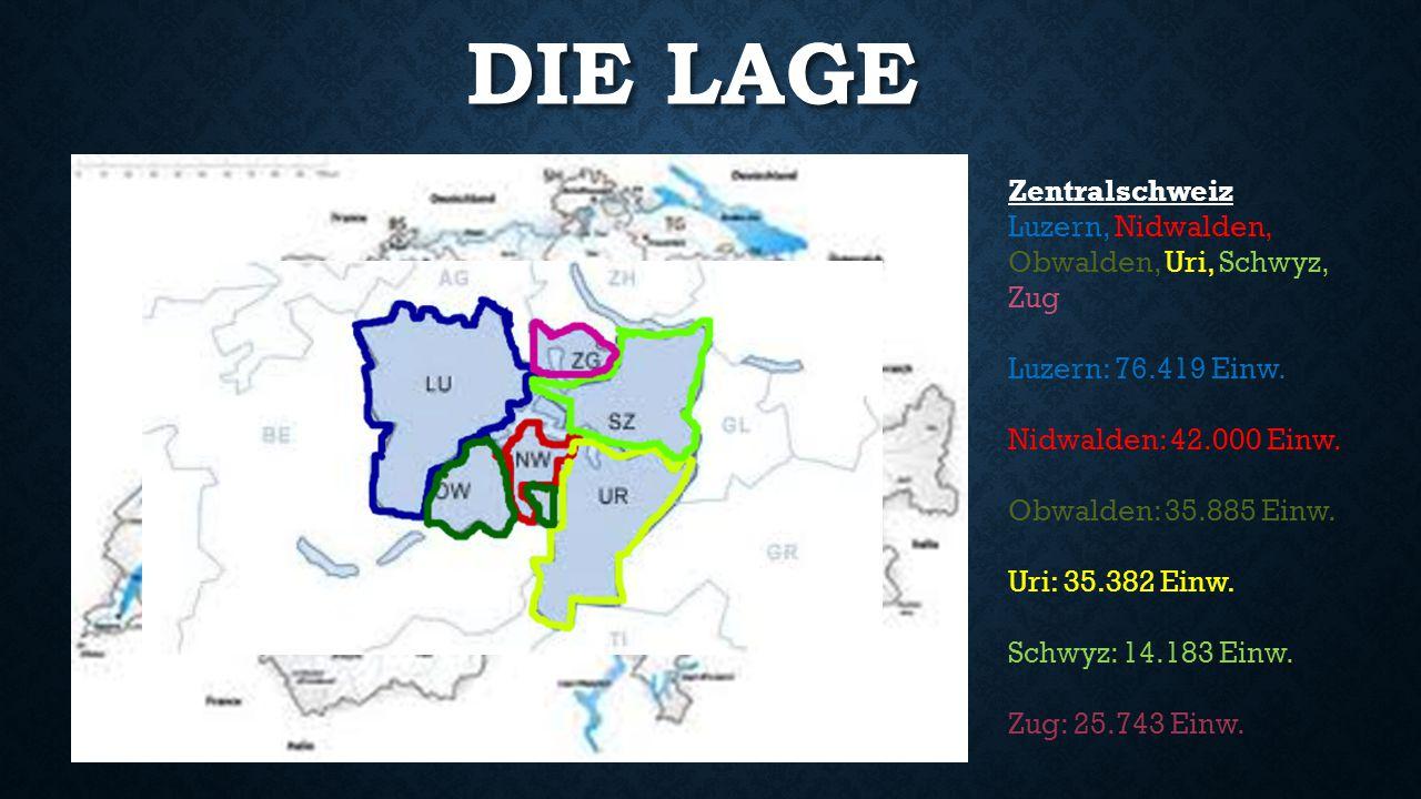Die Lage Zentralschweiz Luzern, Nidwalden, Obwalden, Uri, Schwyz, Zug