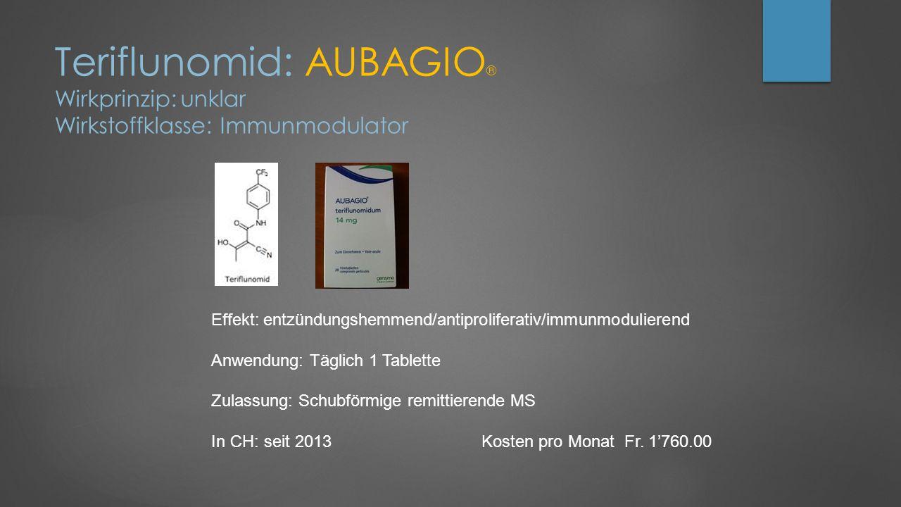 Teriflunomid: AUBAGIO® Wirkprinzip: unklar Wirkstoffklasse: Immunmodulator