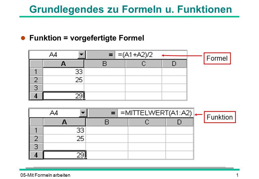 Grundlegendes zu Formeln u. Funktionen