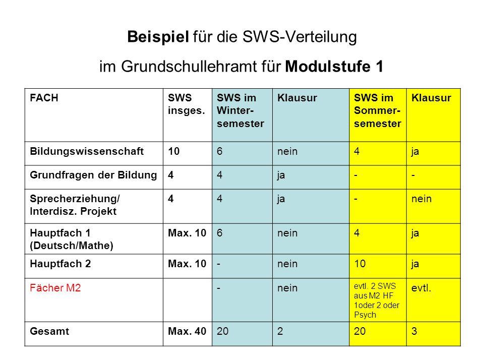 Beispiel für die SWS-Verteilung im Grundschullehramt für Modulstufe 1