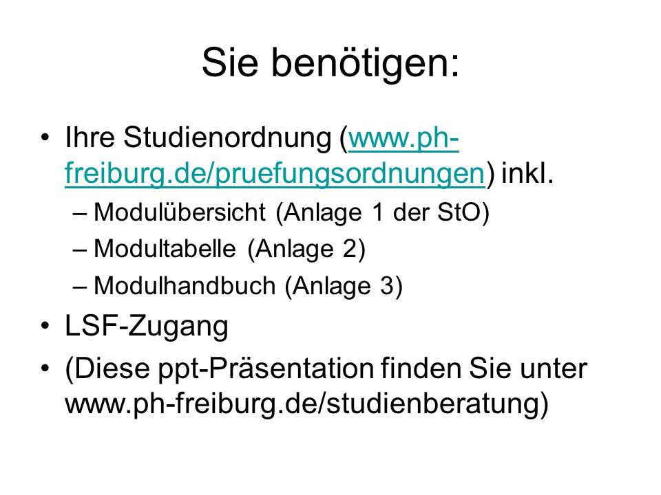 Sie benötigen: Ihre Studienordnung (www.ph-freiburg.de/pruefungsordnungen) inkl. Modulübersicht (Anlage 1 der StO)