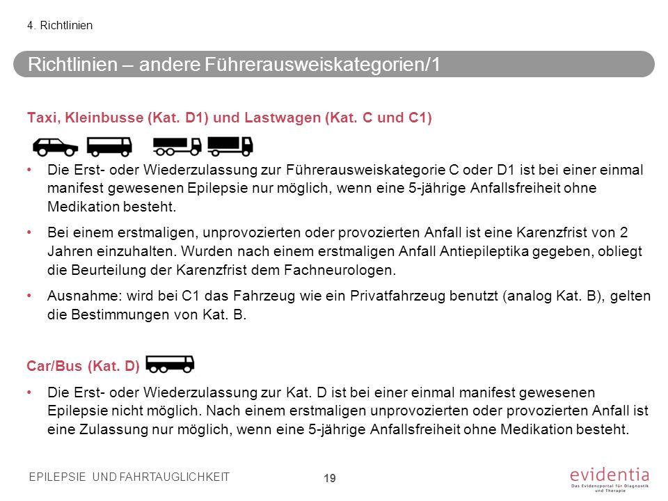 Richtlinien – andere Führerausweiskategorien/1