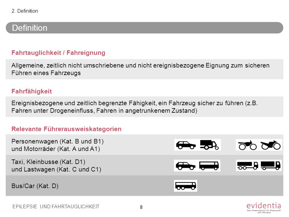 Definition Fahrtauglichkeit / Fahreignung