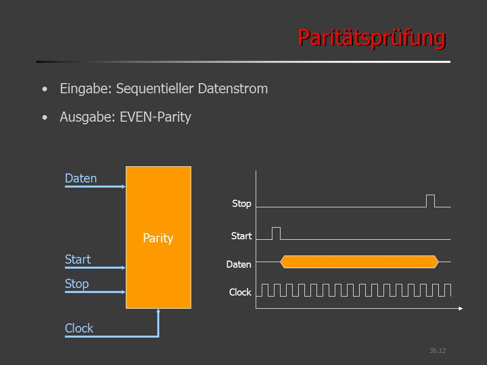 Paritätsprüfung Eingabe: Sequentieller Datenstrom Ausgabe: EVEN-Parity