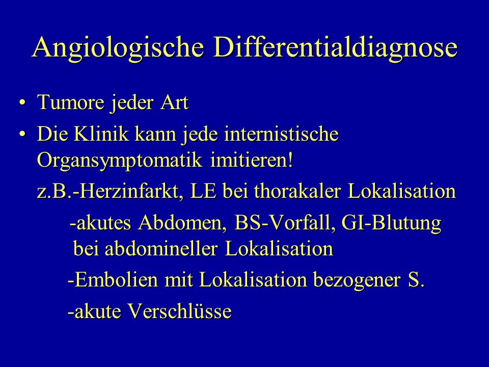 Angiologische Differentialdiagnose