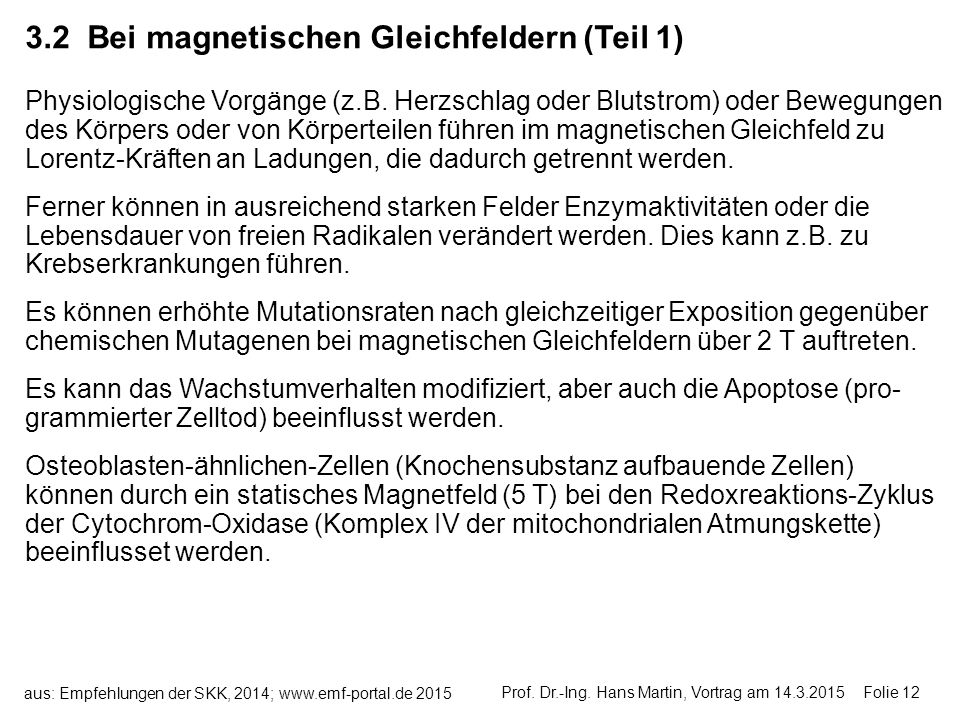 .2 Bei magnetischen Gleichfeldern (Teil 1)