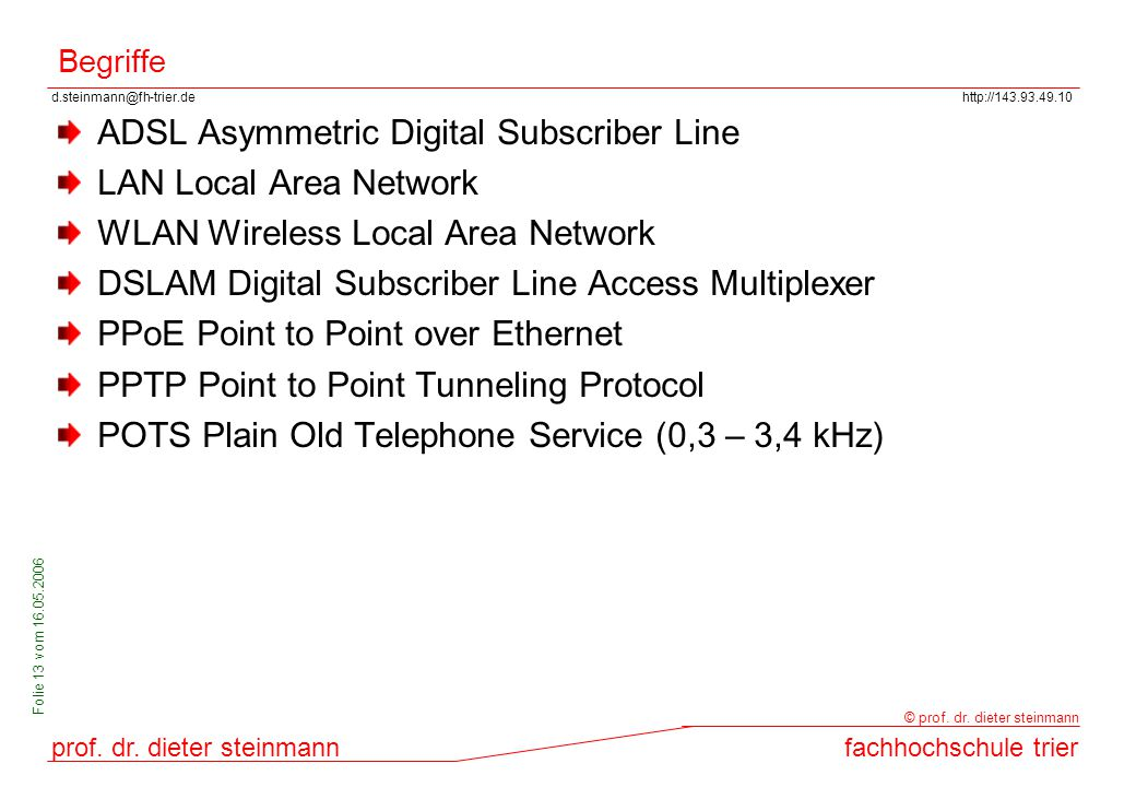 ADSL Asymmetric Digital Subscriber Line LAN Local Area Network
