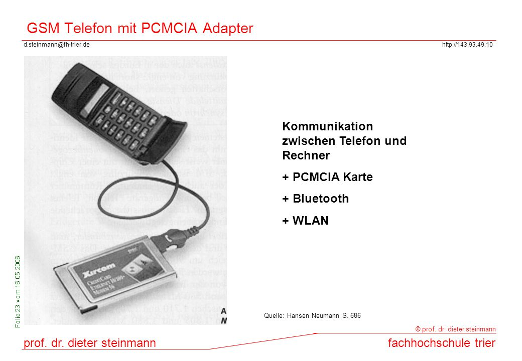GSM Telefon mit PCMCIA Adapter
