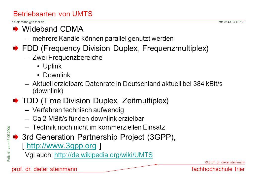 Betriebsarten von UMTS