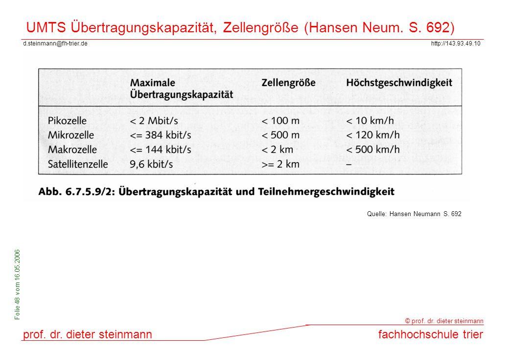 UMTS Übertragungskapazität, Zellengröße (Hansen Neum. S. 692)