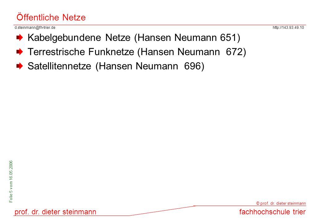 Kabelgebundene Netze (Hansen Neumann 651)