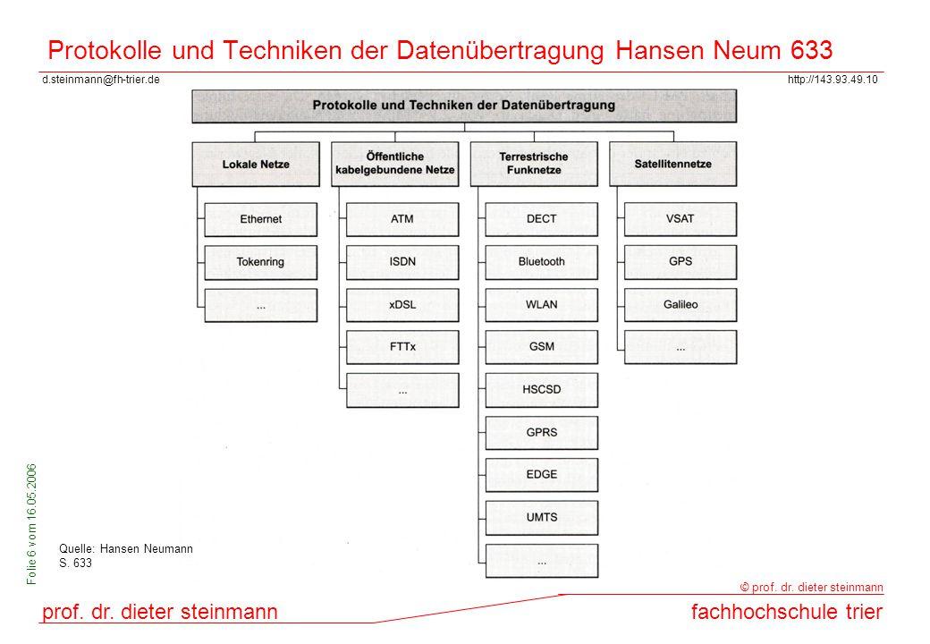 Protokolle und Techniken der Datenübertragung Hansen Neum 633