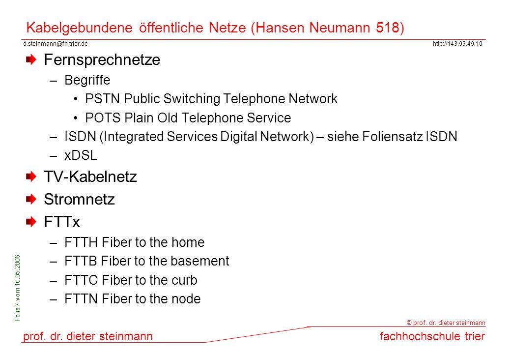 Kabelgebundene öffentliche Netze (Hansen Neumann 518)