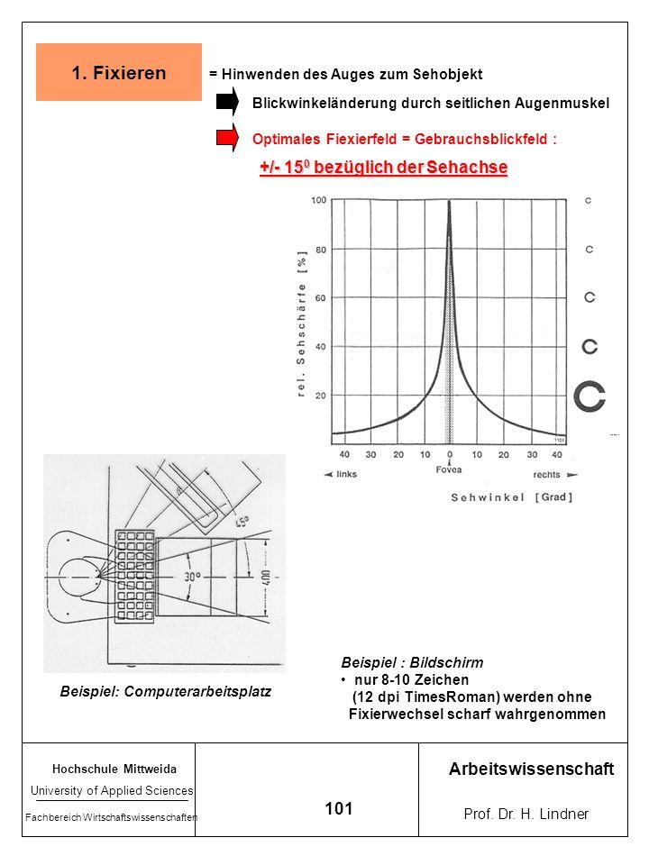 1. Fixieren +/- 150 bezüglich der Sehachse Arbeitswissenschaft 101
