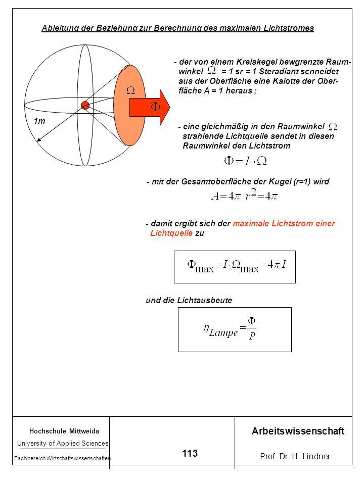 Ableitung der Beziehung zur Berechnung des maximalen Lichtstromes