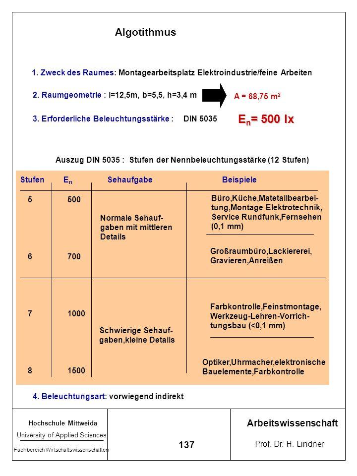 En= 500 lx Algotithmus Arbeitswissenschaft 137