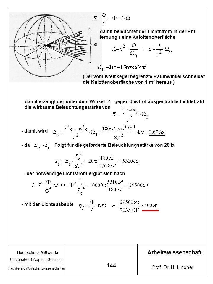Arbeitswissenschaft 144 - damit beleuchtet der Lichtstrom in der Ent-