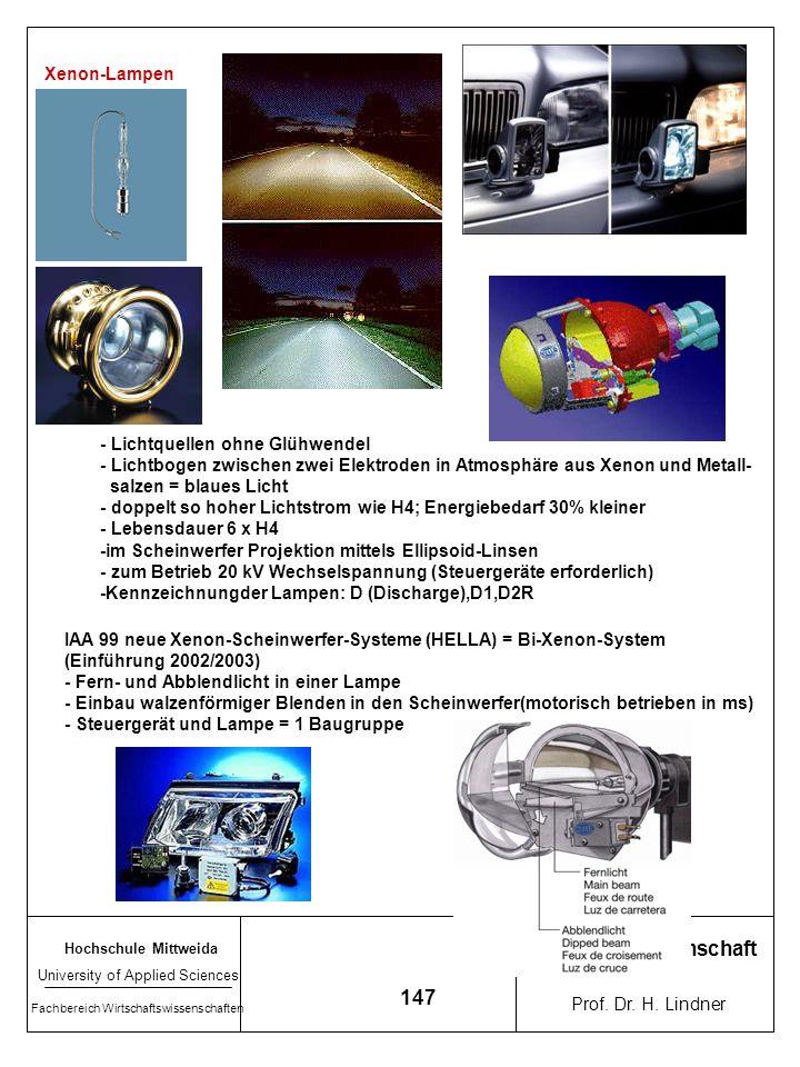 Arbeitswissenschaft 147 Xenon-Lampen - Lichtquellen ohne Glühwendel
