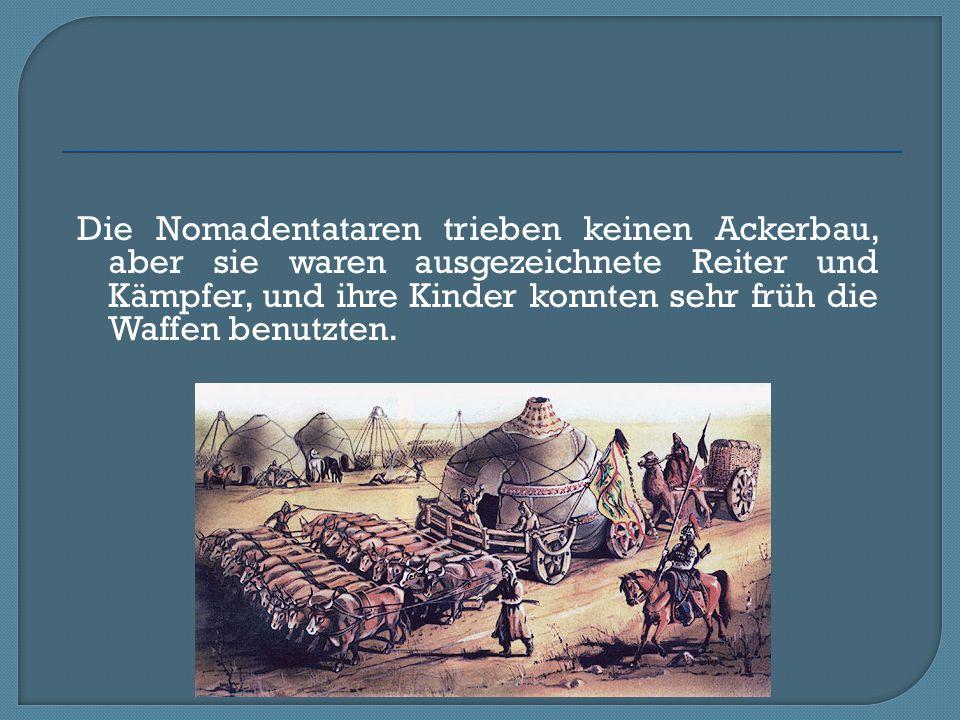 Die Nomadentataren trieben keinen Ackerbau, aber sie waren ausgezeichnete Reiter und Kämpfer, und ihre Kinder konnten sehr früh die Waffen benutzten.