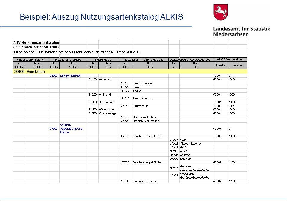 Beispiel: Auszug Nutzungsartenkatalog ALKIS