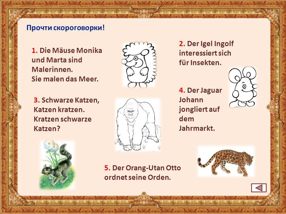 Прочти скороговорки! 2. Der Igel Ingolf. interessiert sich für Insekten. 1. Die Mäuse Monika. und Marta sind.