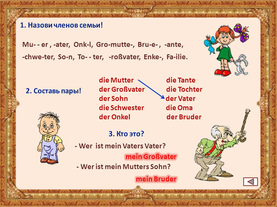 1. Назови членов семьи! Mu- - er , -ater, Onk-l, Gro-mutte-, Bru-e- , -ante, -chwe-ter, So-n, To- - ter, -roßvater, Enke-, Fa-ilie.
