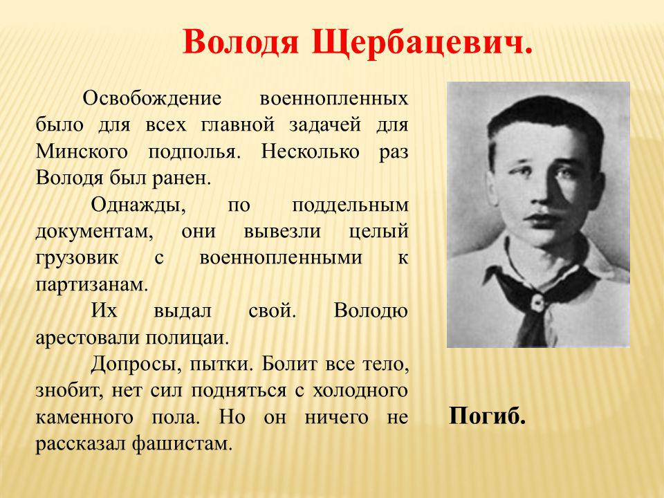 Володя Щербацевич. Погиб.