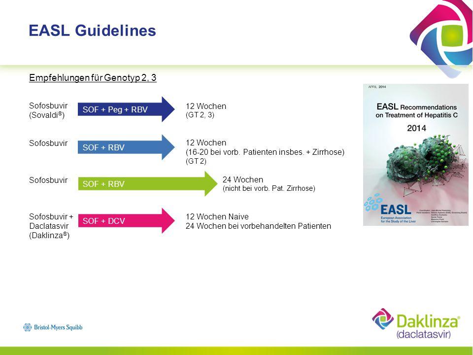 EASL Guidelines Empfehlungen für Genotyp 2, 3 Sofosbuvir (Sovaldi®)